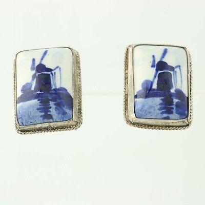 Windmill Earrings Delft Dutch Painted Blue White Porcelain 835 Silver Screwback