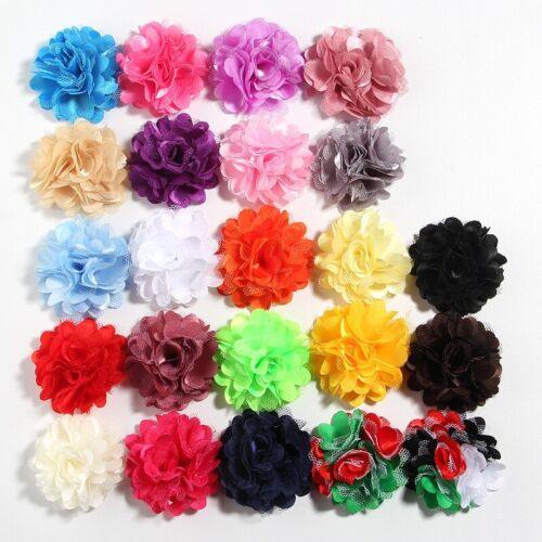 "40pcs 5CM 2"" Mesh Silk Fabric Flowers For Hair Accessories Fabric Flower Craft"
