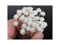 5Pcs Wedding Bridal Pearl Flower Rhinestone Hair Pins Clips Bridesmaid