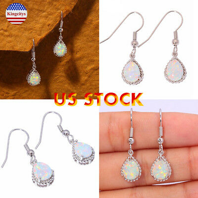 Silver Opal Tear Drop Hook Dangle Earrings Water Rain Droplet Ladies Dangly US](Pearl Earrings Droplets)