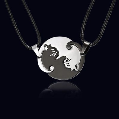 2pcs Stainless Steel Yin and Yang Cat Necklace Set Couples Best Friend Puzzle