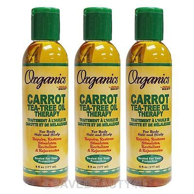 3Pc Africa's Best Organics Carrot Tea-Tree Oil Therapy for Body Hair Scalp