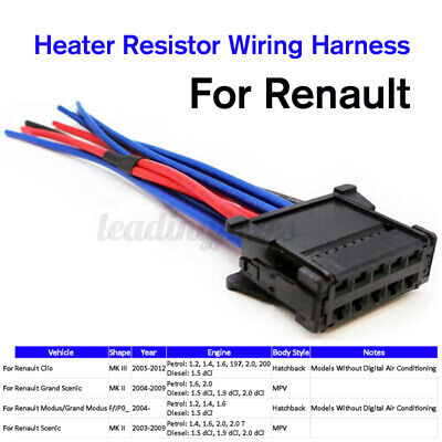 For Renault Clio Grand Scenic Modus Heater Resistor Wiring Harness Loom Plug UK