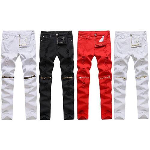 Купить Unbranded - Men's Casual Skinny Slim Biker Pants Knee Zipper Distressed Ripped Denim Jeans ~