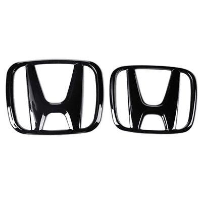 Black Front Rear Back Logo Emblem Badge Cover For Honda 10th Gen Civic 2016-2018