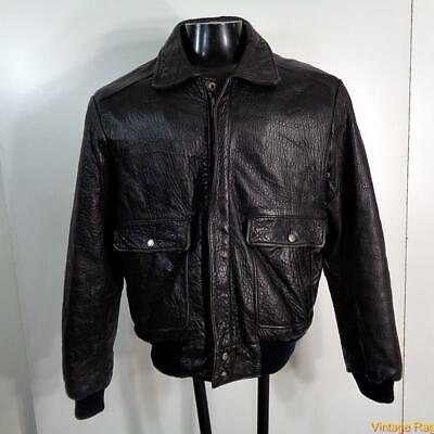 COSI Lambskin Leather FLIGHT Bomber JACKET Mens Size M 40 Black pile lined Lined Lambskin Leather