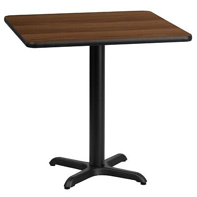 24 Square Walnut Laminate Table Top W22 X 22 Table Height Base -black New
