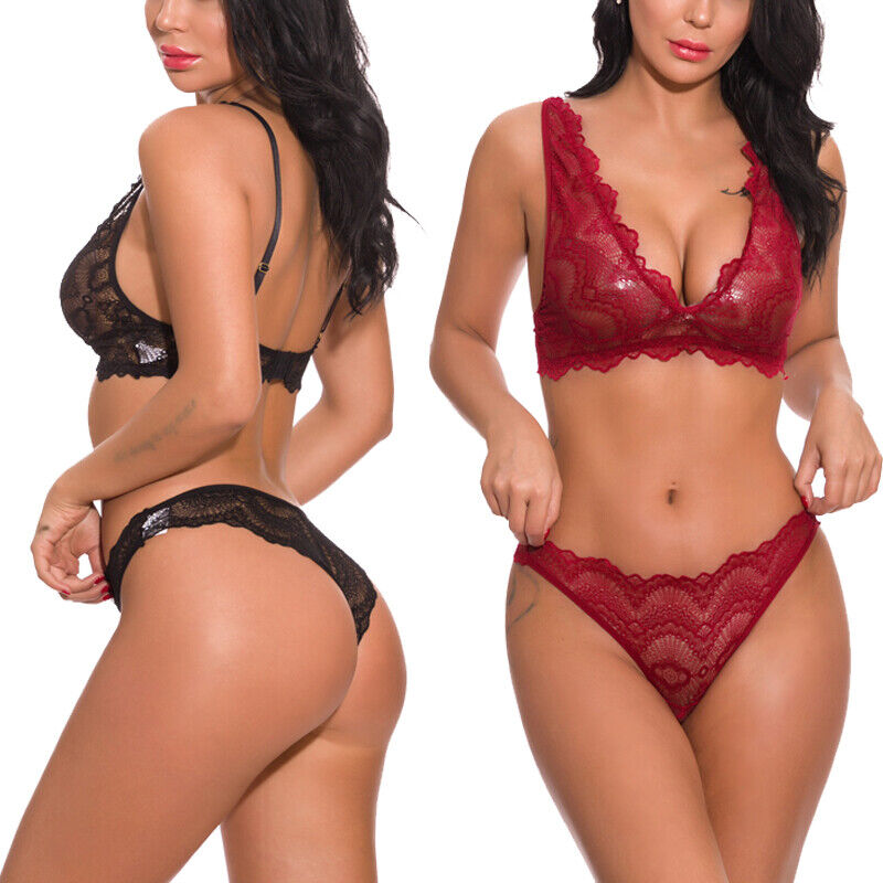 2 Piece Women's Lace Sexy Lingerie Set Bra and Panty Strappy Babydoll Underwear Bras & Bra Sets