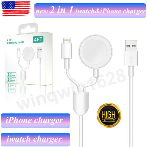 2 in 1 For Apple watch Charger & iPhone cable iwatch Magnetic Charging Cable New