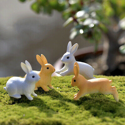 2 / 4X Kaninchen Ornamente Miniatur Figur Micro Landschaft Terrarium Fairy D  Tb