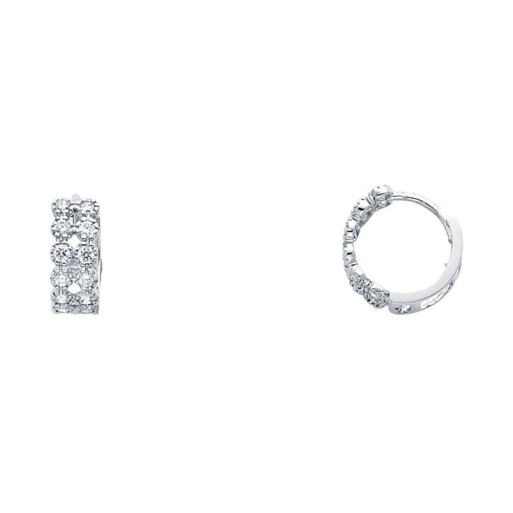 Details About Flower Cz Huggie Hoops Solid 14k White Gold Huggies Earrings Round Two Row Small