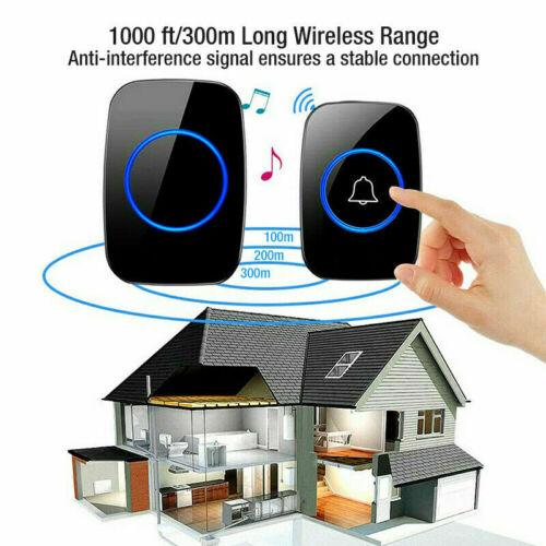 Wireless Doorbell, Plug & Play Waterproof Door Bell Kit Adjustable Volume 1000ft