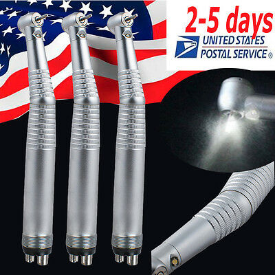 3pcs Dental Led Handpiece High Speed 4hole Standard Push 3 Way Turbine Fit Nsk