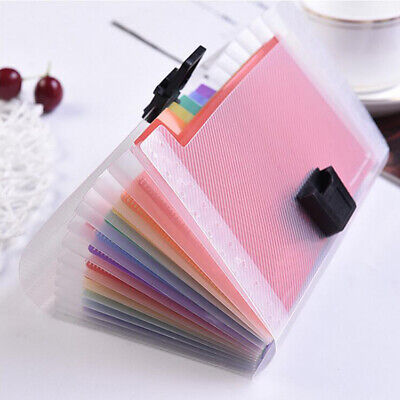 Rainbow A6 File Folder Expansion Document Bag 13pocket Clear Accordion Bag Hot