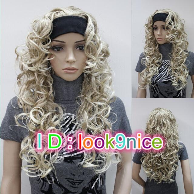 New! Lady Blonde Mixed Long Curly Wavy Daily 3/4 Half Wig Headband Cosplay Wigs