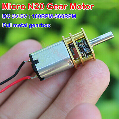 Mini N20 Gear Motor Dc 3v 3.7v 5v 6v Slow Speed Full Metal Gearbox Diy Robot Car