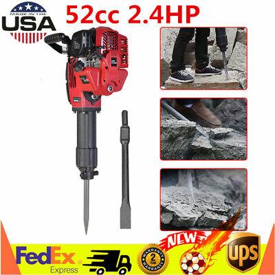 52cc 2.4hp Gasoline Demolition Jack Hammer Concrete Breaker 2 Chisel Bits Usa
