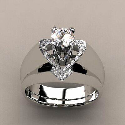 1pair Love Heart Shaped Crystal Ring Female Wedding Party Finger Ring Jewelry