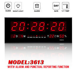 Red LED Digital Jumbo Wall Calendar Temp Humidity alarm Clock Home #3613 US Ship