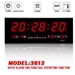 Red LED Digital Jumbo Wall Calendar Temp Humidity alarm Clock Home #3613 US Ship