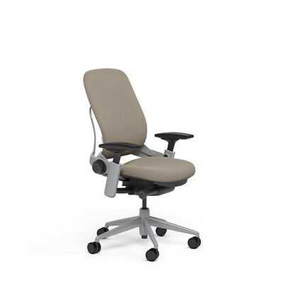 Large Steelcase Leap Plus Adjustable Chair V2 Buzz2 Sable Fabric 500lb Platinum