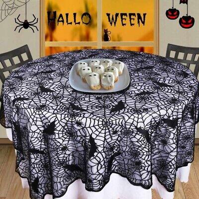 Halloween Spider Web Lace Tablecloth Cobweb Bat Table Cover Halloween Decor USA