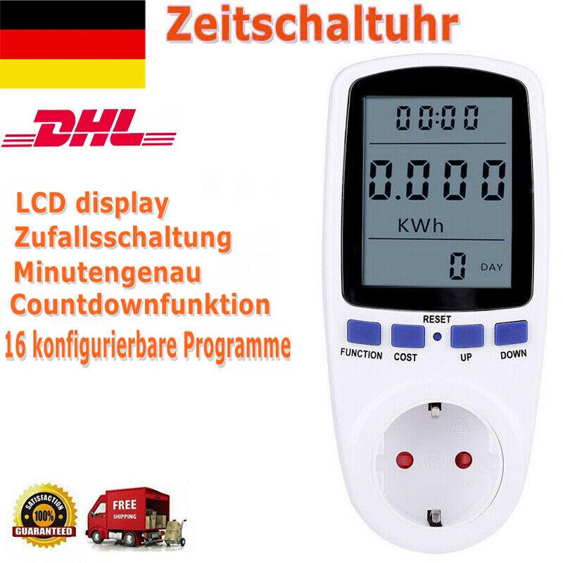 Digitale Zeitschaltuhr 2200W 230V Timer Schalter Steckdose Zeitschaltung Weiß DE