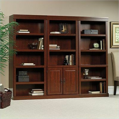 Cherry 3 Piece Library Bookcase Set Shelf Furniture Home Living Display Study 3 Piece Cherry Bookcase