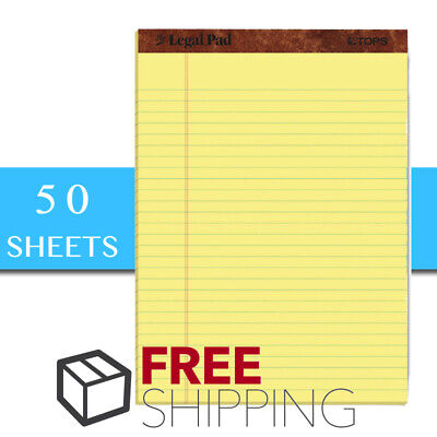 Tops The Legal Pad Writing Pads 8-12 X 11-34 Canary Paper Legal Rule 12-pack