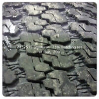 235 75 15 GOODYEAR SETS OF 4 75%tREAD
