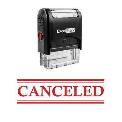 Double Line Canceled Stamp - Self-inking Red