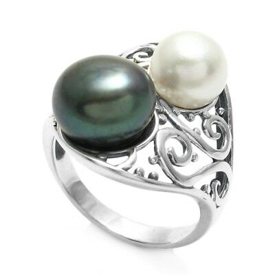 925 Sterling Silver Black and White Pearl Swirl Design Ring Size -