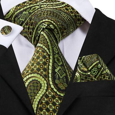 USA Green Paisley Cool Mens Tie Necktie Silk Woven Set Wedding Business (Cool Tie)
