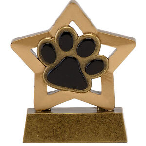 SOLID RESIN DOG SHOW PAW PRINT TROPHY TRAINING AWARD FREE ENGRAVE A1665 GMS