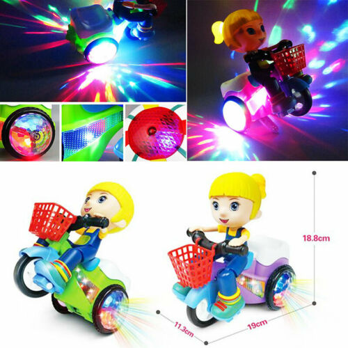 Electric Kids Tricycle Toys 360° Rotating Stunt Bicycle Mus