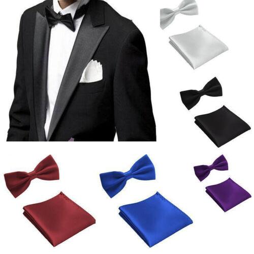Set Men's Bowtie Bow Tie Pocket Square Handkerchief Hanky Formal Party Wedding
