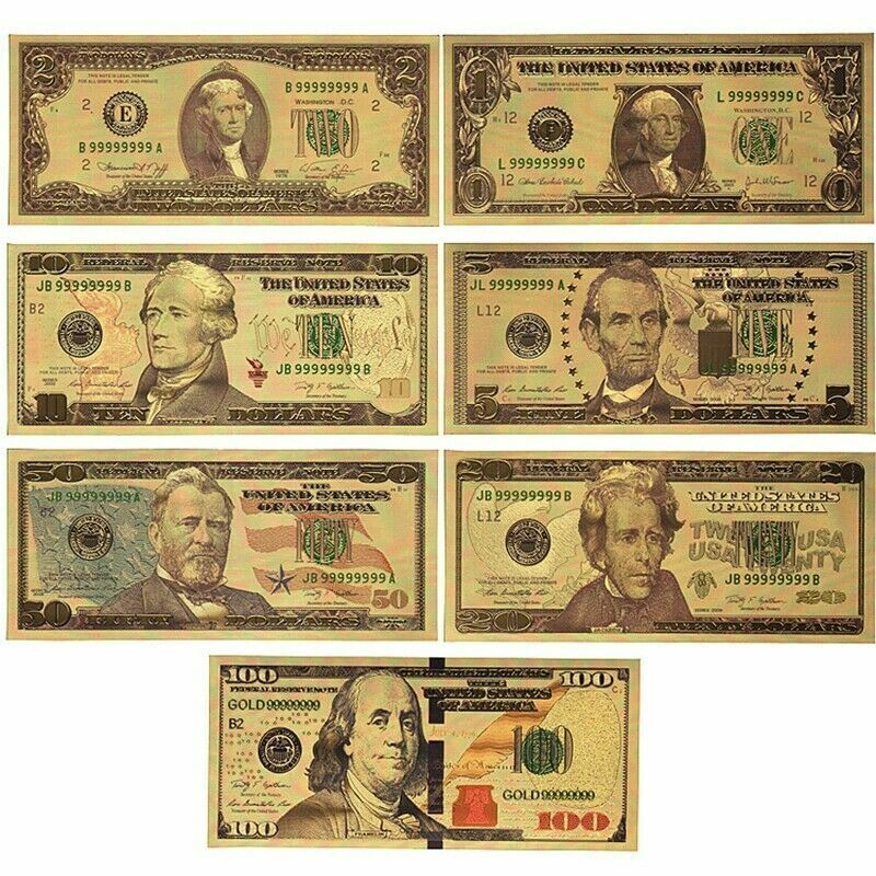 7PCS USD 1/2/5/10/20/50/100 Gold Dollar Bill Full Set Gold Banknote Colorful