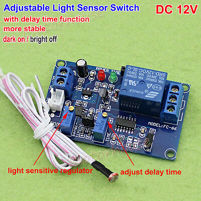 Dc 12v Adjustable Light Sensor Switch Photoresistor Delay Control Relay Module
