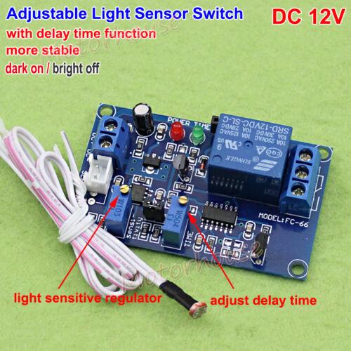 DC 12V Adjustable light Sensor Control Switch Photoresistor Delay On/OFF Module
