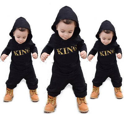 US Newborn Infant Baby Boy Kid King Romper Jumpsuit Bodysuit Clothes Outfits New