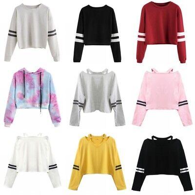 Women Striped Hoodie Long Sleeve Jumper Crop Top Coat Sport
