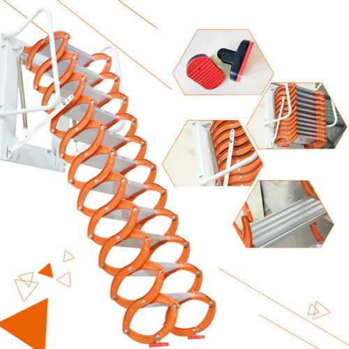 Intbuying New Folding Ladder Loft Stairs/Wall Mounted Folding Ladder Loft Stairs