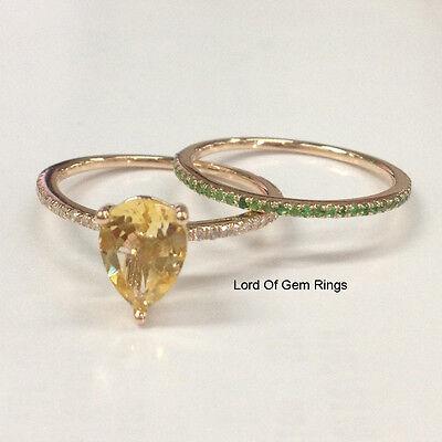 Wedding Ring Sets 14K Rose Gold,Citrine Diamonds Tsavorite Engagement,Pear 5x7mm