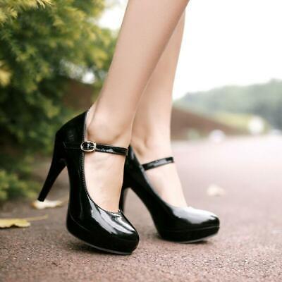 Mary Janes Damen High Heel Pumps Schuhe Platform PU Lackleder Neu Gr. 34-43 Lack High Heel Platform