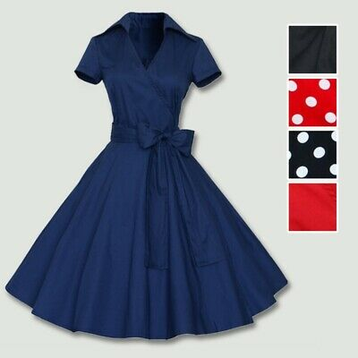- 50s 60s Retro Hepburn Style Vintage V-Neck Swing Lapel Rockabilly Pinup Dress