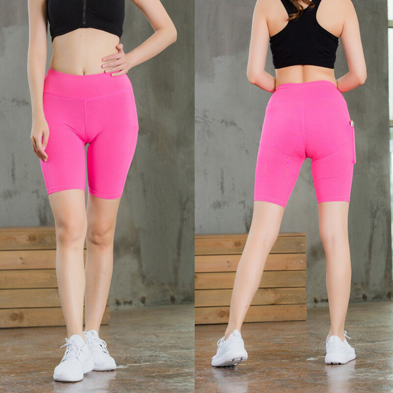 Women/'s Workout Gym Yoga Shorts with Pocket Compression Dri-fit Short Tights