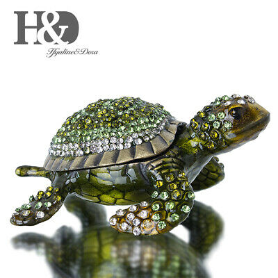 Diamond Turtle Trinket Box Hinged Figurine Collectible Ring Holder with Gift Box ()