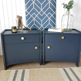 Chic navy blue bedside cabinets with drawer, vintage chests