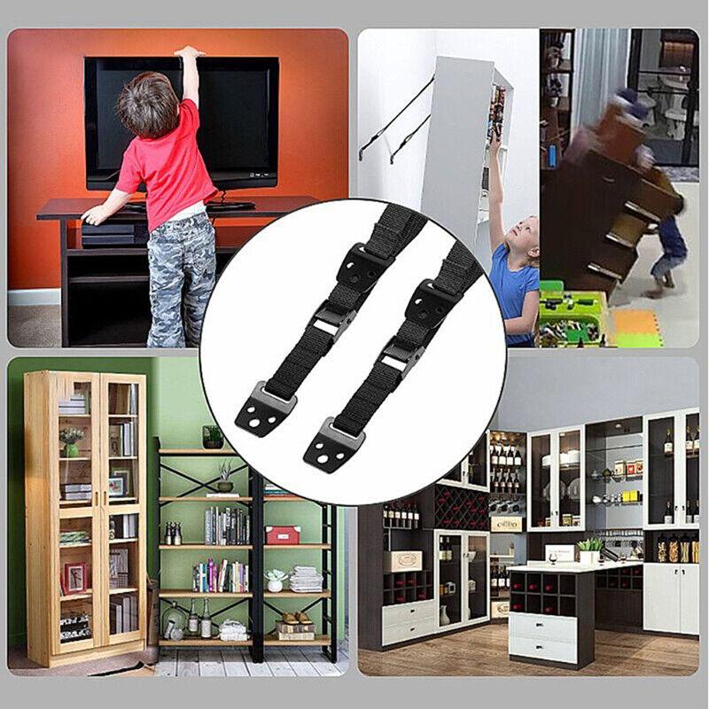 Baby Safety Metal TV Straps, DD Furniture Anti-Tip Straps Heavy DutyUTQA