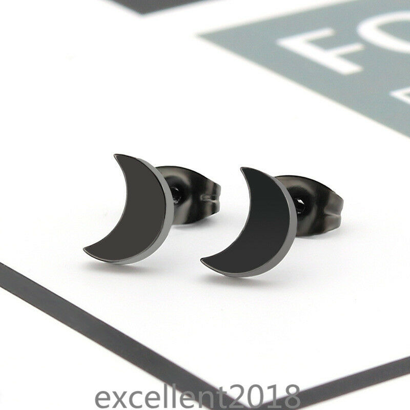 Women Black Surgical Stainless Steel Crescent moon Piercing